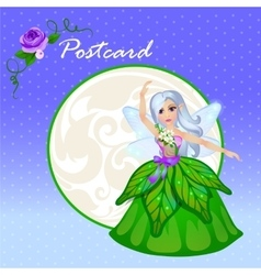 Cute doll forest elf in green dress vector