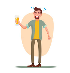 drunk office worker have fun cheers party vector image