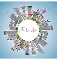 Fukuoka skyline with gray landmarks vector