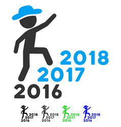 gentleman steps years from 2016 to 2018 flat icon vector image