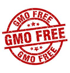 Gmo free round red grunge stamp vector