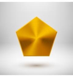 Gold abstract polygon button template vector