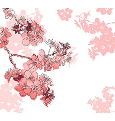 Hand Drawn Red Floral Background vector image vector image