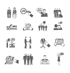 Hire black icons set vector