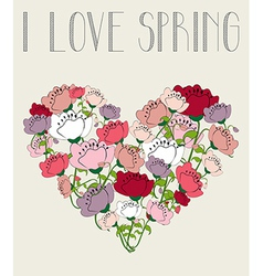 I love spring heart background vector image vector image