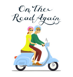 man and woman riding on the motorbike on the road vector image vector image