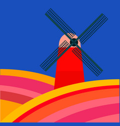 mill with tulipan fields on a blue background vector image vector image