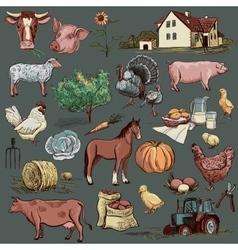 Original hand drawn farm collection vector image vector image