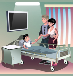 Parents with sick boy lying in a medical bed vector