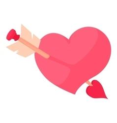 Pink heart with arrow icon cartoon style vector