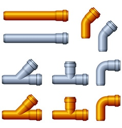 Pvc sewer pipes orange gray vector