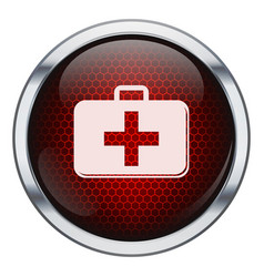 Red honeycomb medkit icon vector image
