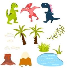 Set of cartoon dinosaur clipart vector