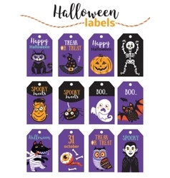 Set of vintage Happy Halloween badges and labels vector image