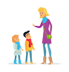 Woman explaining rules for attentive children vector