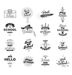 Back to school typographic labels set vector