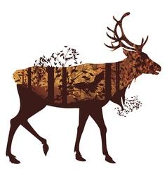 Autumn Forest Landscape and Deer4 vector image