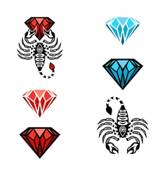 Scorpion and diamond logo design vector