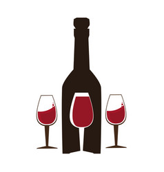 Background wine bottle and glass cups vector