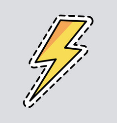 Yellow lightning icon cut it out patch energy vector