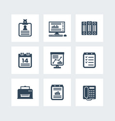 office icons set over white vector image