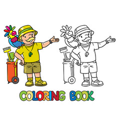 Coloring book of funny zoo keeper with parrot vector