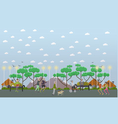 Walk in the park in flat style vector