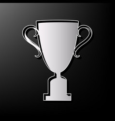 Champions cup sign  gray 3d printed icon vector