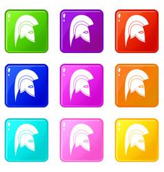 roman helmet icons 9 set vector image