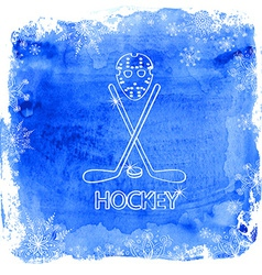 Ice hockey accessories on a watercolor background vector