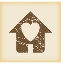 Grungy beloved house icon vector