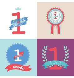 Collection of multicolored badges trophies vector