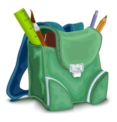 Green backpack with school supplies vector