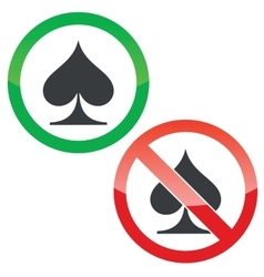Spades permission signs set vector