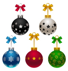 Set of matte christmas baubles with bow vector