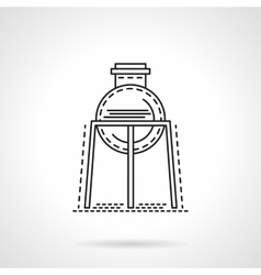 Flat line rack with flask icon vector