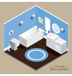 Bathroom 3d interior blue background vector