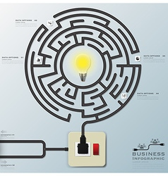 Maze light bulb electric wire line business vector