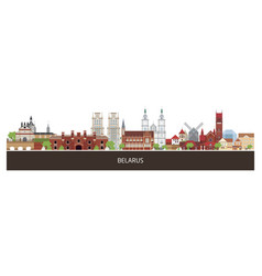 Background with belarus country buildings and vector