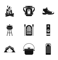 Camp icons set simple style vector