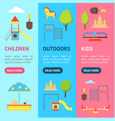 cartoon playground in city and element banner vector image vector image