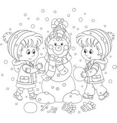 Children making a christmas snowman vector