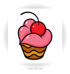 chocolate cupcake with cream in shape of lips vector image vector image