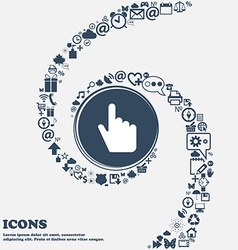 cursor icon sign in the center Around the many vector image