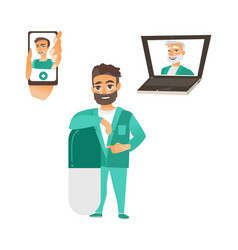 Doctor leaning at pill laptop phone avatar vector