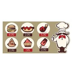 fastfood menu vector image vector image