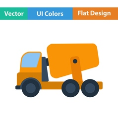 Flat design icon of concrete mixer truck vector