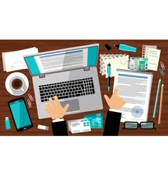Flat design of office workspace vector