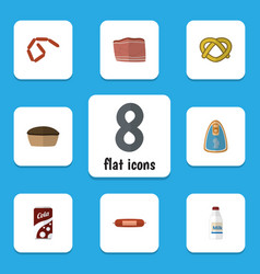 Flat icon eating set of bratwurst fizzy drink vector