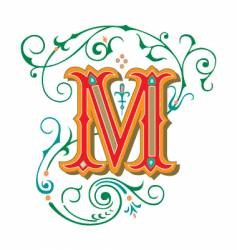 floral letter m vector image vector image